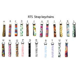 Designs Porte-clés Wristband imprimé floral porte-clés en néoprène Porte-clés Keychain Wristlet Party Favor DHD226