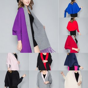 Ln11U Autumn and Winter new single color cashmere women's double-sided Cloak shawl Coat shawl Korean style sleeve cashmere bucket cloak coat