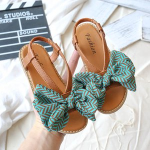 2020 new Summer Bohemia girls sandals stripe bows kids sandals fashion kids shoes beach shoes children shoes children sandals retail B1537