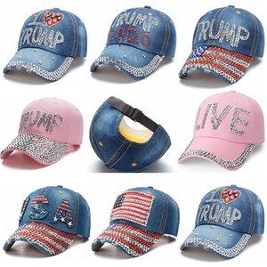 Trump 2020 Baseball Cap Cowboy Diamond Word Hat USA Election Hats Donald Trump Adjustable Snapback Denim Hat Outdoor Sports Cap HHA1489