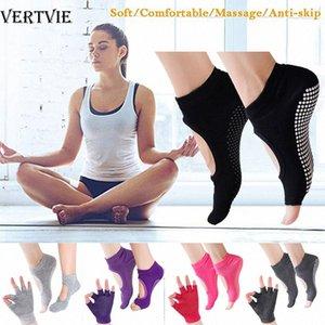 VERTVIE Yoga Meias Anti-derrapante Cinco Dedos Cotton silicone antiderrapante respirável Sock Ballet Gym Fitness Sports 1pair meia e luva ogy0 #
