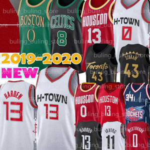 Russell NCAA 0 Westbrook Jersey James Harden 13 Jayson 0 Tatum Kemba 8 Walker Pascal 43 Siakam Hakeem Olajuwon 34 de basket-ball Maillots