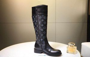 2020 new style women luxuryes boots high quality Genuine Leather old flower designeres 18.5 inch loog boots shoes size 35-41