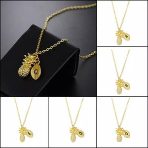 Individuality 26 Letter Pendant Necklaces Gold Alphabet Fruit Pineapple leaves Charm Link chain For women Fashion Jewelry Gift
