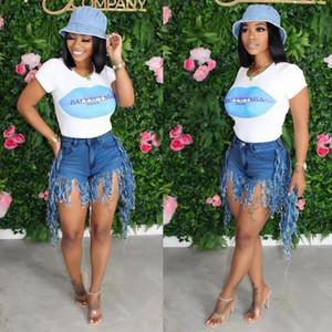 Jeans Tassel Hotpant Sexy Mulheres cintura alta Denim Casual Calças curtas Jeans Feminino Tassel Shorts