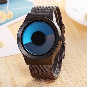Top Creative Unisex Concept Wrist Watches Mesh Watchband Mens Watch Fashion Quartz Clock Males relogio masculino