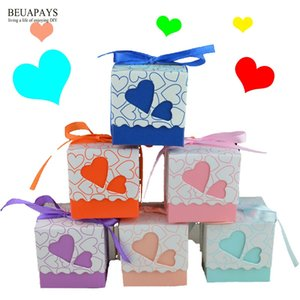 100pcs Hollow double love happy candy box wedding gift personality baby shower birthday gift DIY accessories party favors deco