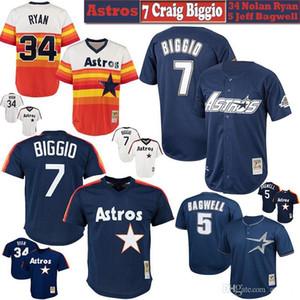 7 Craig Biggio Houston Mens Womens Youth Kids Knit Jersey 34 Nolan Ryan 5 Jeff Bagwell Retrocesso Jerseys de beisebol