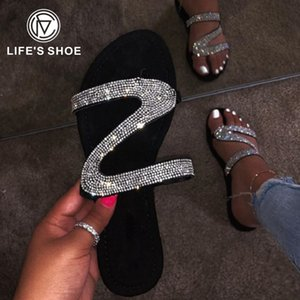 New 2020 Fashion Summer Rhinestone Sandals Shoes Female Shoes Women Sandals Woman Rome Women Flip Flop Chaussures Femme