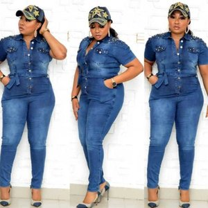 African Ladies Denim Jumpsuit Women Short Sleeve Vintage Jumpsuits Fashion Nail Bead Button Pocket Jean Jumpsuit Club Streetwear