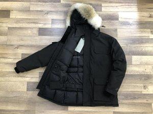 O brasão fábrica de Down Parka Homme Jassen Daunejacke Casacos de moda Big Fur com capuz Fourrure Manteau Canadá para baixo do revestimento do revestimento Chi