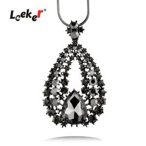 LEEKER Vintage Black Cubic Zircon Big Water Drop Pendant Necklace Black Snake Long Chain For Women 002 LK9