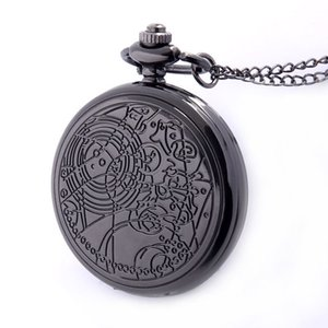 Black Bronze Silver Color Available Full Quartz Engraved Fob Retro Pendant Pocket Watch Chain Gift ps0451