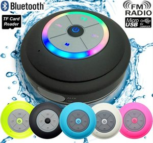 waterproof Shower Bluetooth Speaker Waterproof with Suction Cup LED Light FM Radio for samsung iphone car Wireless Loudspeaker