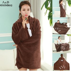 Cartoon Hooded Blanket Super Soft Fleece Blanket Christmas Style Square Brown Sofa Home Print Wearable Throw