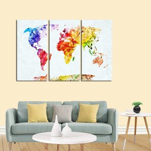 3 Panels Watercolor World Map Canvas Oil Painting Modern Abstract Poster Prints Wall Art Modular Picture for Living Room Cuadros Decoracion