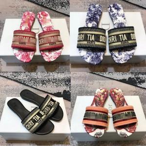 2020 Sandals Blue White Stripes Sandals Denim Flat Slippers Shoes Ladies Summer Outdoor Beach dîõr Flip Flops Genuine Leather Sole Box