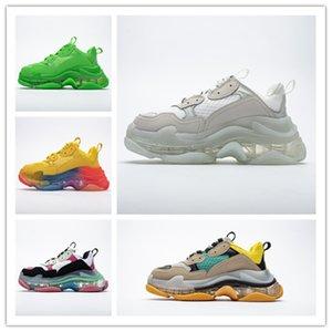 Новая мода Париж 17FW Triple-S Sneaker Тройной S Повседневные папа обувь для мужчин в женщин зеленый Ceahp спорта Размер обуви 36-45