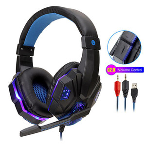 Professional Led Light Gaming Headphones for Computer PS4 Adjustable Bass Stereo PC Gaming Over Ear Wired Headset
