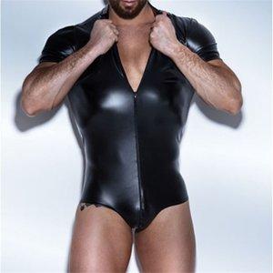 Sexy Men's Underwear Faux Leather Bodysuit Wrestling Singlet Lingerie Boxers Gay Jumpsuits Leotard Undershirts Clubwear