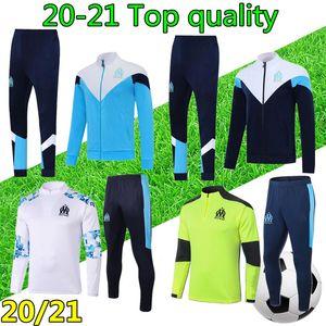 20 21 Men tuta Marseille football training suit om soccer tracksuit zipper jacket 2020 2021 olympique de marseille football tracksuit survetement