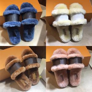 Meilleur verrou plat Slipper Mule Diapositives femmes flip-flop réel Calfskin Monogram Chaussures plates Bas Hiver chaud Intérieur cuir Princetown Slipper