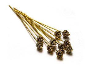 100pcs lot 50mm alloy Flower Ball Head Pins Needles Beads Connector For DIY Earrings Jewelry Making Findings Accessories