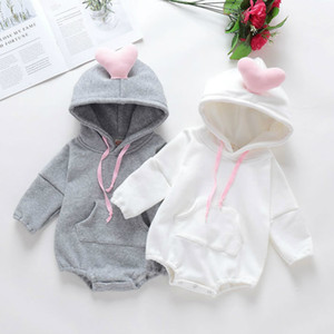 Fashion Newborn Baby Romper Winter Thick Warm Jumpsuit Baby Girls Outerwear Infant Clothes Cute 3D Heart Toddler Hoddies Rompers