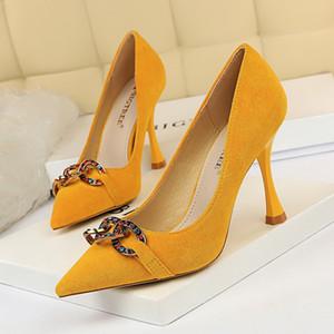 Элегантный Suede Женщины Насосы Высокие каблуки горный хрусталь цветок Свадебная обувь BigTree Дизайн Остроконечные Toe Высокие каблуки обувь 9.5CM каблук