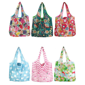 Grande dobrável Shopping Bag de poliéster impresso reutilizável ECO amigável Shoulder Bag Folding bolsa de armazenamento sacos WB2335