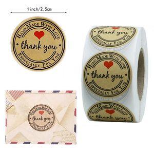 Kraft Paper Hand Made Grazie Adesivi 500pcs / roll Apprezzamento Tag Label per i partner Business Bag tenuta appositamente per voi