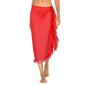 Women skirt Solid Color Beach Long Skirt Ruffles Sarong Wrap Bikini Cover Up Swimsuit Sunscreen skirts