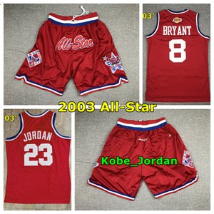 Урожай 2003 Red All-Star прошитого Баскетбол Джерси Топ ЛейкерсКобеBryant 23 Майкл JD 3 Аллен Айверсон All-Star Баскетбол шорты