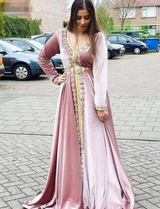 Vintage Moroccan Caftans Pink Evening Dresses v neck Long Sleeves Party Dress with Beading Velvet A-Line Robe De Soiree Formal Gown 2020