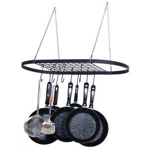 Waco Colgando Pot Rack, 10 ganchos Estante Oval Metal, Inicio Restaurante Cocina Utensilios de cocina Pan Pan Pot Lid Utensilios Organizador Almacenamiento Negro