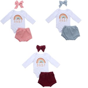 Baby Autumn Clothing 0-24M Newborn Baby Boy Girl Spring Rainbow Letter Long Sleeve Romper Triangle Ribbed Shorts Pants Hairband