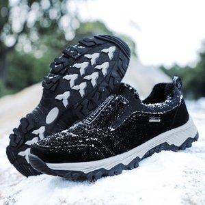 Masculino al aire libre de los zapatos corrientes caliente del invierno de la piel de Flush botas de montaña Mountain Men calzado resistente a las zapatillas de deporte impecables duraderos
