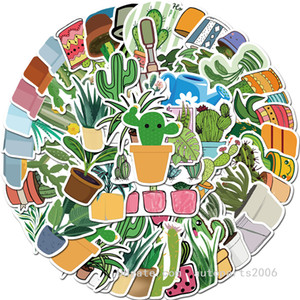 45pcs / Lot Toptan VSCO Sevimli Suluboya Kaktüs ve sulu bitkilerin Çıkartma Yeşil Bitkiler Sticker için kızlar Hediyeler Notebook Bagaj Çıkartmaları