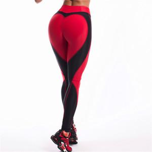 calças de yoga apertadas 2 cores Símbolo do Coração Mulheres Leggings Slim Fit formação da dança calças skinny Elastic Legging Moda Yoga Calças