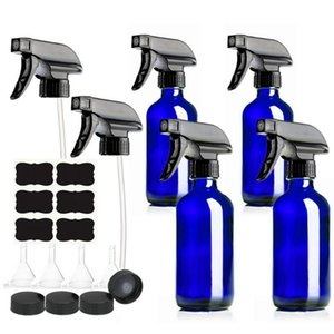 4 Pack 250ml Empty Blue Glass Spray Bottle with Trigger Sprayer Storage Cap Chalkboard Labels for Cleaning Products Plants 8 Oz