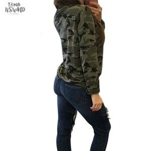 2020 Women Camouflage Sweatshirt V Neck Hoodies Pullovers Female Long Sleeve Bandage Tracksuits Jumper Tops Sudaderas Mujer