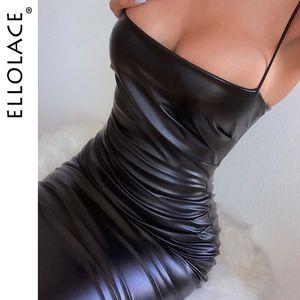Ellolace Moda Pu couro preto Vestido Midi Mulheres Spaghetti Magro Partido vestidos de senhora elegante Backless Vestidos 2020 roupas sexy