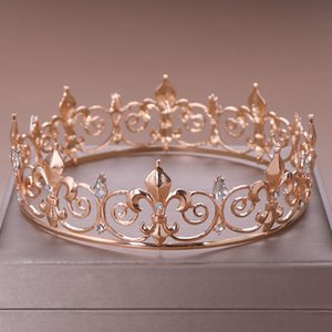 Wholesale Gold Silver Color Round Large Tiaras Crown Jewelry for Bridal Bride Wedding Party Princess Women Engagement Headwear