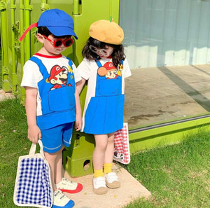 Brothers and sisters 2020 new children's clothing Super Mary cartoon girl dress cotton t-shirt shorts boy suit summer