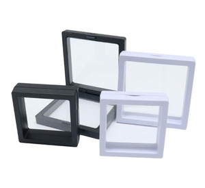 50*50mm PET Membrane Stand Holder boxes Floating Display Case Earring Gems Ring Jewelry Suspension Packaging Box