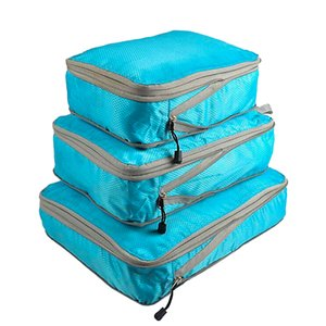 Rantion 3pcs set Compression Packing Cubes Travel Storage Bag Luggage Suitcase Organizer Set Foldable Waterproof Nylon Material T200710