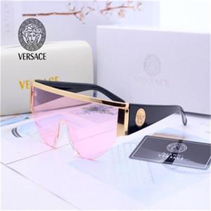 с коробкой дизайнерские солнцезащитные очки для женщин и мужчин унисекс Полурамка Coating Lens Версаче Солнцезащитные очки ноги углеродного волокна лето классический стиль
