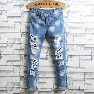 Explosion Designer Light Blue Men's Ripped Jeans Hand-Worn Mid-Waist Fashion Slim Men's Large Size Jeans Size 28-38