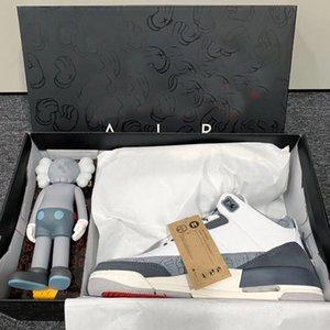 2020 nuevo diseñador KAWS x 3 3s Moda Mans tamaño de los hombres de calidad superior 40-47 los zapatos de baloncesto zapatillas de deporte con la caja
