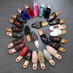 Luxus Prince Pantoffeln Frau mit Box Staubbeutel Designer Sommer gg gamer Spitze Velvet Mules Loafers echtes Leder Wohnungen